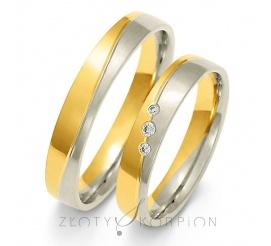 Tradycyjny komplet obrączek ślubnych z dwukolorowego złota próby 585 z olśniewającymi cyrkoniami Swarovski Elements lub brylantami - szerokość 4 mm