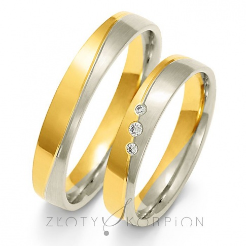 Tradycyjny komplet obrączek ślubnych z dwukolorowego złota z olśniewającymi cyrkoniami Swarovski Elements lub brylantami - szerokość 4 mm