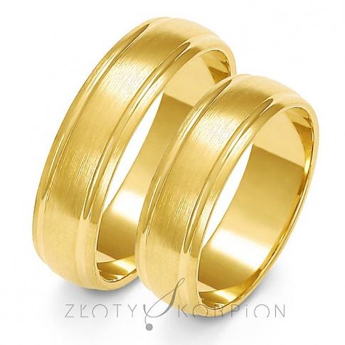 Popularna para obrączek ślubnych z żółtego złota z efektownymi żłobieniami i ozdobnym matem - szerokość 6 mm