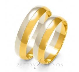 Tradycyjna para półokrągłych obrączek ślubnych z dwukolorowego złota - szerokość 5 mm