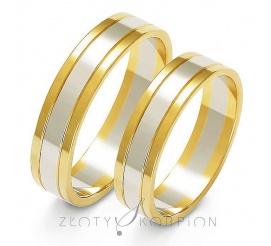 Tradycyjna para obrączek ślubnych z dwukolorowego złota próby 585, biały środek pokryty ozdobnym matem z błyszczącymi bokami w kolorze żółtym - szerokość 5 mm