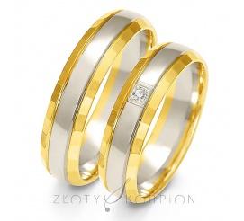 Popularna para obrączek ślubnych z dwukolorowego złota próby 585 w ponadczasowym stylu z cyrkonią Swarovski Elements lub brylantem - szerokość 5 mm