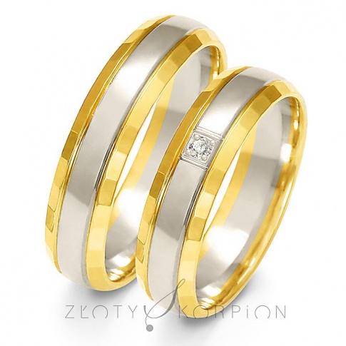 Popularna para obrączek ślubnych z dwukolorowego złota w ponadczasowym stylu z cyrkonią Swarovski Elements lub brylantem - szerokość 5 mm