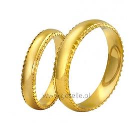 Tradycyjne obrączki z klasycznego złota 14K z ozdobnymi krawędziami