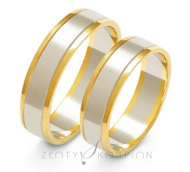 Tradycyjny komplet obrączek ślubnych z dwukolorowego złota próby 585, biały środek pokryty ozdobnym matem z błyszczącymi bokami w kolorze żółtym - szerokość 5,5 mm