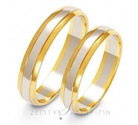 Tradycyjny komplet półokrągłych obrączek ślubnych z dwukolorowego złota, biały środek pokryty ozdobnym matem z błyszczącymi bokami w kolorze żółtym - szerokość 4 mm