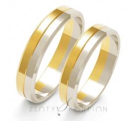 Delikatny komplet obrączek ślubnych z dwukolorowego złota - szerokość 4,5 mm