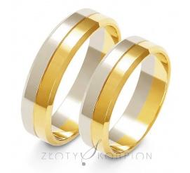 Efektowny komplet obrączek ślubnych z dwukolorowego złota próby 585 - szerokość 5,5 mm