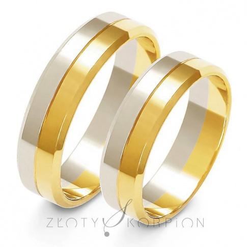 Efektowny komplet obrączek ślubnych z dwukolorowego złota - szerokość 5,5 mm