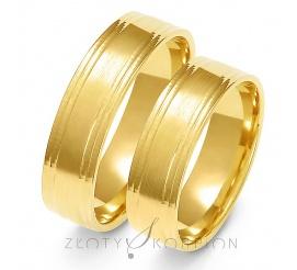 Ponadczasowy komplet obrączek ślubnych z żółtego złota, ozdobiony delikatnym matem - szerokość 6 mm