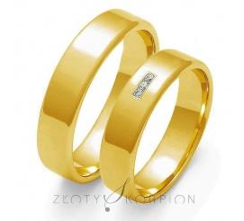 Tradycyjna para obrączek ślubnych z żółtego 14-karatowego złota z cyrkonią Swarovski Elements lub brylantem - szerokość 5 mm