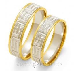 Nowoczesny komplet obrączek ślubnych z dwukolorowego złota próby 585, z motywem greckim - szerokość 6 mm