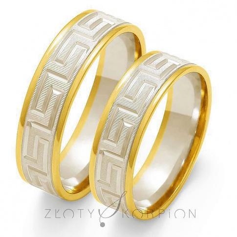 Nowoczesny komplet obrączek ślubnych z dwukolorowego złota, z motywem greckim - szerokość 6 mm