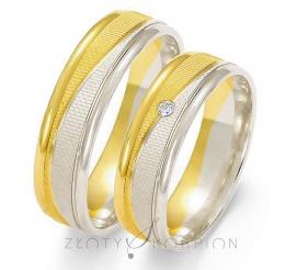 Stylowy komplet obrączek ślubnych z dwukolorowego złota z cyrkonią Swarovski Elements lub brylantem, ozdobiony efektownym matem - szerokość 6 mm