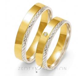 Efektowny komplet obrączek ślubnych z dwukolorowego złota z cyrkonią Swarovski Elements lub brylantem - brzeg ozdobiony diamentowaniem - szerokość 5 mm