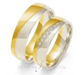 Stylowa para półokrągłych obrączek ślubnych z dwukolorowego złota próby 585 z cyrkoniami Swarovski Elements lub brylantami - ozdobione delikatną falą - szerokość 6 mm