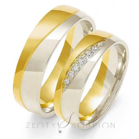 Stylowa para półokrągłych obrączek ślubnych z dwukolorowego złota z cyrkoniami Swarovski Elements lub brylantami - ozdobione delikatną falą - szerokość 6 mm
