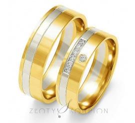 Efektowny komplet obrączek ślubnych z dwukolorowego 14-karatowego złota z cyrkoniami Swarovski Elements lub brylantami - szerokość 6 mm