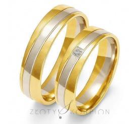 Ponadczasowy komplet półokrągłych obrączek ślubnych z dwukolorowego 14-karatowego złota z cyrkonią Swarovski Elements lub brylantem - szerokość 5,5 mm