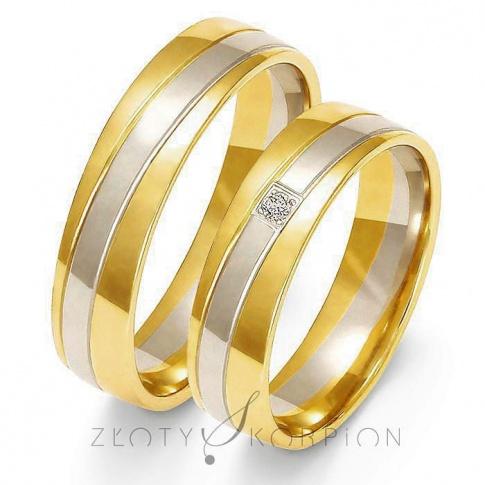 Ponadczasowy komplet półokrągłych obrączek ślubnych z dwukolorowego złota z cyrkonią Swarovski Elements lub brylantem - szerokość 5,5 mm