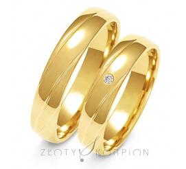 Wyjątkowa para obrączek ślubnych z żółtego złota próby 585 z ozdobnymi żłobieniami oraz cyrkonianią lub brylantem - szerokość 4,5 mm