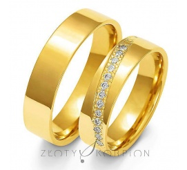 Solidny komplet obrączek ślubnych z żółtego złota z rzędem olśniewających cyrkoni Swarovski Elements lub brylantów- szerokość 5 mm