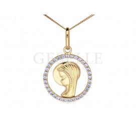 Dedykowany dziewczynkom elegancki medalik z żółtego złota z wizerunkiem Maryi z cyrkoniami