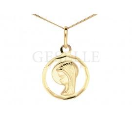 Piękny, komunijny upominek - medalik z Matką Boską z żółtego złota pr. 585