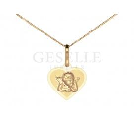 Słodka zawieszka w kształcie serduszka z żółtego złota z małym aniołkiem