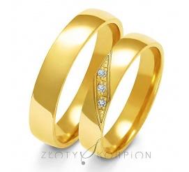 Klasyczny komplet obrączek ślubnych z żółtego złota z cyrkoniami Swarovski Elements lub brylantami w ozdobnej oprawie - szerokość 4 mm