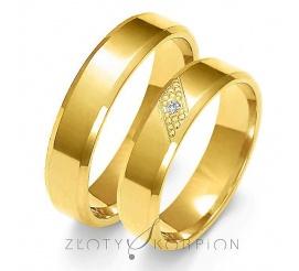 Tradycyjny komplet obrączek ślubnych z żółtego złota 14-karatowe z olśniewającą cyrkonią Swarovski Elements lub wiecznym brylantem