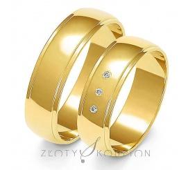 Solidny komplet półokrągłych obrączek ślubnych z żółtego złota 14-karatowego z cyrkoniami Swarovski Elements lub brylantami