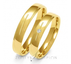 Subtelny komplet obrączek z żółtego złota 14-karatowego z olśniewającą cyrkonią Swarovski Elements lub brylantem