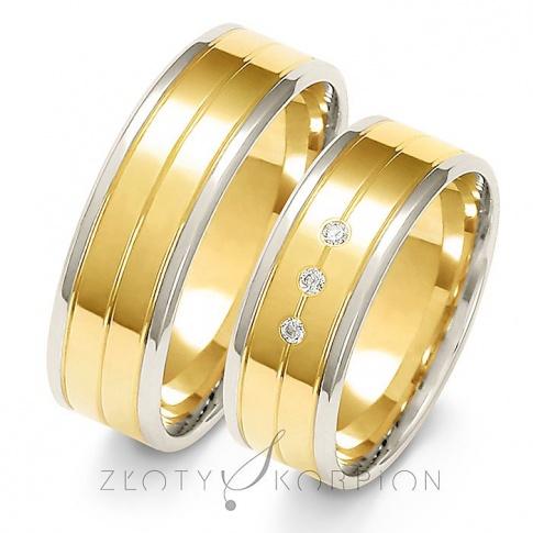 Wyjątkowa para obrączek ślubnych z dwukolorowego złota z cyrkoniami Swarovski Elements lub brylantami