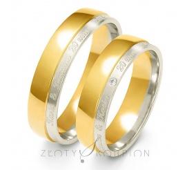 Stylowy komplet obrączek ślubnych z dwóch kolorów złota próby 585 z cyrkonią Swarovski Elements lub brylantem - szerokość 5,5 mm