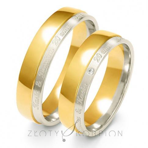 Stylowy komplet obrączek ślubnych z dwóch kolorów złota z cyrkonią Swarovski Elements lub brylantem - szerokość 5,5 mm