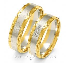 Oryginalna para obrączek ślubnych z dwukolorowego złota próby 585 z ozdobnymi żłobieniami po bokach, oraz cyrkonią Swarovski Elements lub wiecznym brylantem