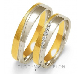 Elegancki  duet obrączek ślubnych z dwukolorowego złota próby 585 z olśniewającymi cyrkoniami Swarovski Elements lub brylantami - szerokość 5 mm