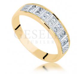 Nowoczesny pierścionek z żółtego złota z brylantami o łącznej masie 0.14 ct - doskonały jako obrączka ślubna