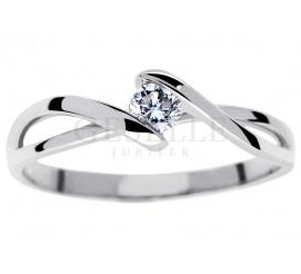 Romantyczny pierścionek zaręczynowy z białego złota próby 585 z brylantem o masie 0.15 ct