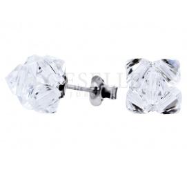 Lśniący komplet kolczyków z kryształami Swarovski ELEMENTS w odcieniu Crystal - biżuteria do ślubu