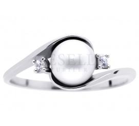 Unikatowy pierścionek z białego złota z okrągłą perłą hodowlaną i cyrkoniami