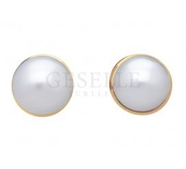 Klasyczna para złotych kolczyków próby 585 z białymi perłami hodowlanymi