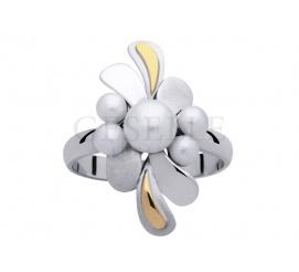 Oryginalny pierścionek z białego złota w stylu retro z perłami hodowlanymi
