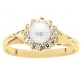 Elegancki pierścionek z żółtego złota próby 585 - karmazycja perły hodowlanej i białych cyrkonii