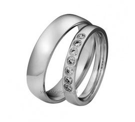 Proste i stylowe obrączki ślubne z rzędem lśniących cyrkonii Swarovski Elements lub brylantów