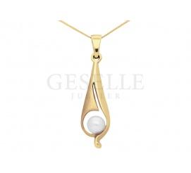 Lekka i delikatna zawieszka z żółtego złota z białą perłą hodowlaną