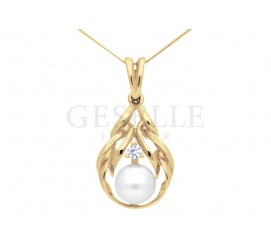 Elegancka zawieszka w stylu retro - żółte złoto próby 585, perła hodowlana, cyrkonia