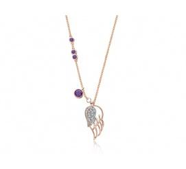 Stylowy naszyjnik, srebrna pozłocona celebrytka z dwoma skrzydełkami, z dodatkiem fioletowych i białych cyrkonii - kolekcja Magic