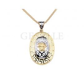 Owalna zawieszka z dwukolorowego złota w stylu Versace